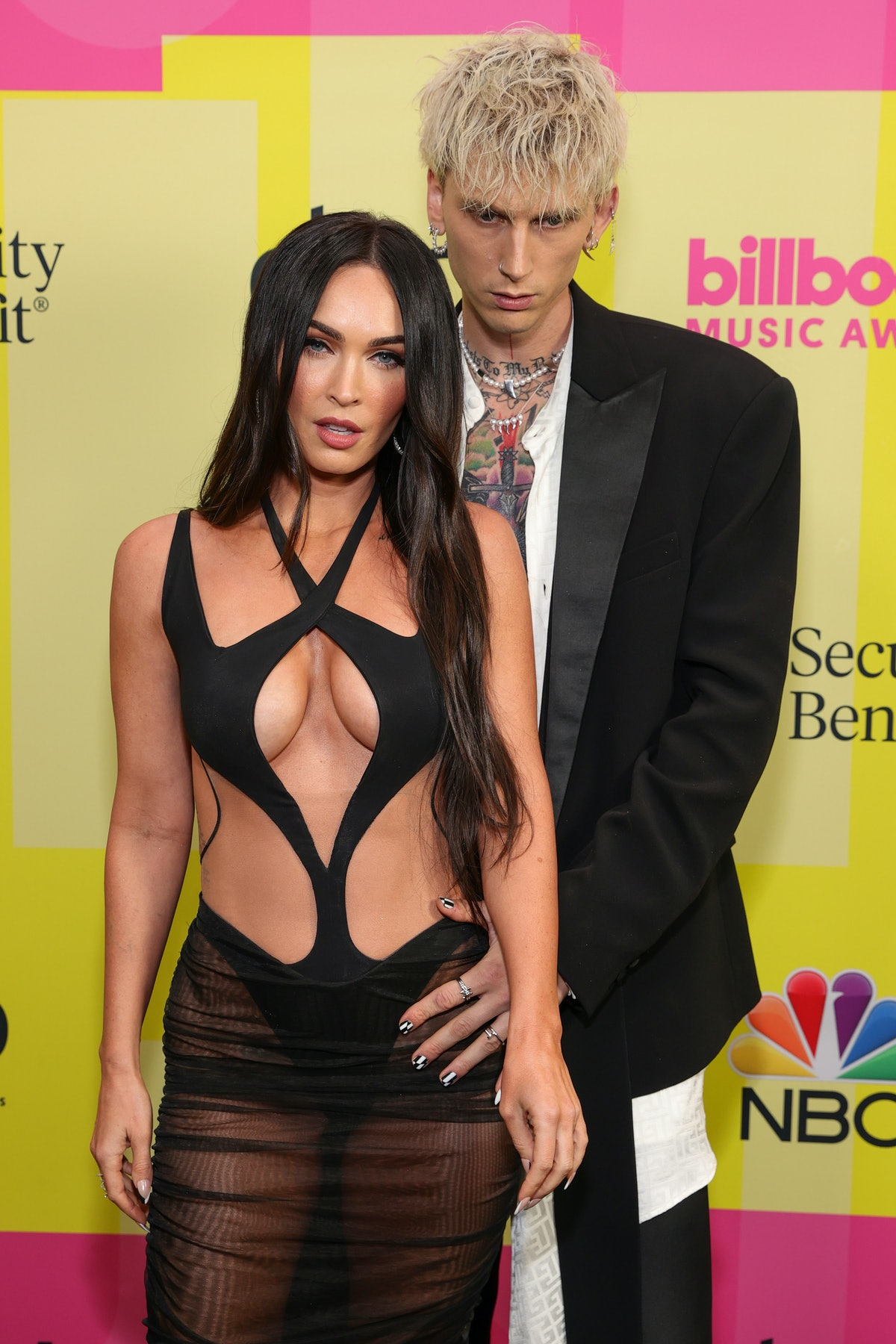LOS ANGELES, CALIFORNIA - MAY 23: Machine Gun Kelly and Meghan Fox poses backstage for the 2021 Billboard Music Awards, broadcast on May 23, 2021 at Microsoft Theater in Los Angeles, California. (Photo by Rich Fury/Getty Images for dcp)