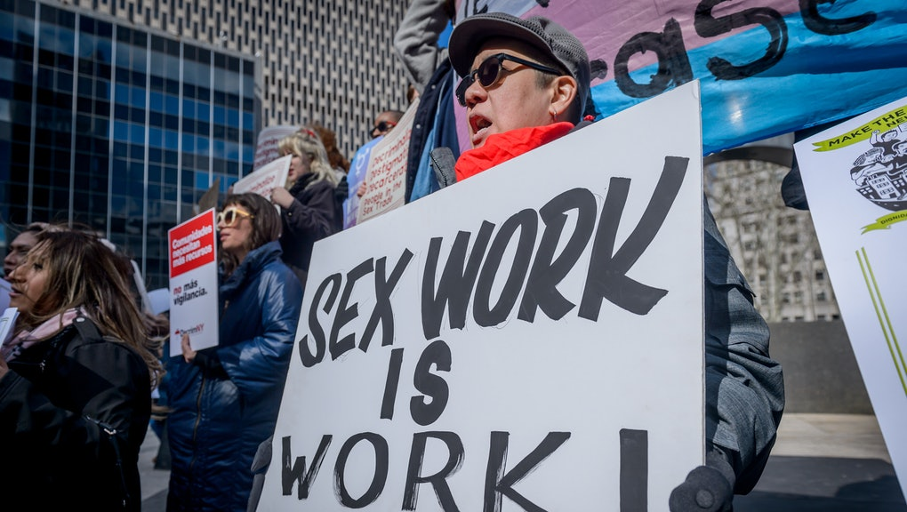 FOLEY SQUARE, NEW YORK, UNITED STATES - 2019/02/25: LGBTQ+, immigrant rights, harm reduction and criminal justice reform groups, led by people who trade sex, launched 20+ organization coalition, Decrim NY, to decriminalize and decarcerate the sex trades in New York city and state. Senate Labor Committee Chair Ramos and Womens Health Committee Chair Salazar and Assembly Health Committee Chair Gottfried announced intention to introduce comprehensive decriminalization bill this session. (Photo by Erik McGregor/LightRocket via Getty Images)