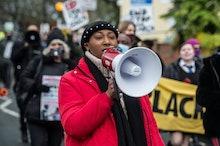 LONDON, ENGLAND - DECEMBER 11:  Black Lives Matter activist Sasha Johnson joins anti-racists, commun...