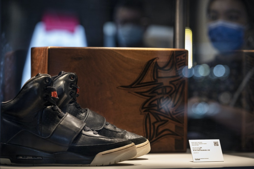 HONG KONG, CHINA - APRIL 16: Kanye West's Nike Air Yeezy 1 sneaker for sale with a price tag of USD$...