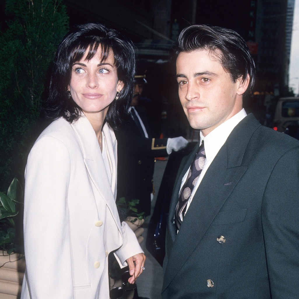 NEW YORK CITY - MAY 16:   Actress Courteney Cox and actor Matt LeBlanc leave for the NBC Sponsors Meeting on May 16, 1994 at the Rhiga-Royal Hotel in New York City. (Photo by Ron Galella, Ltd./Ron Galella Collection via Getty Images)