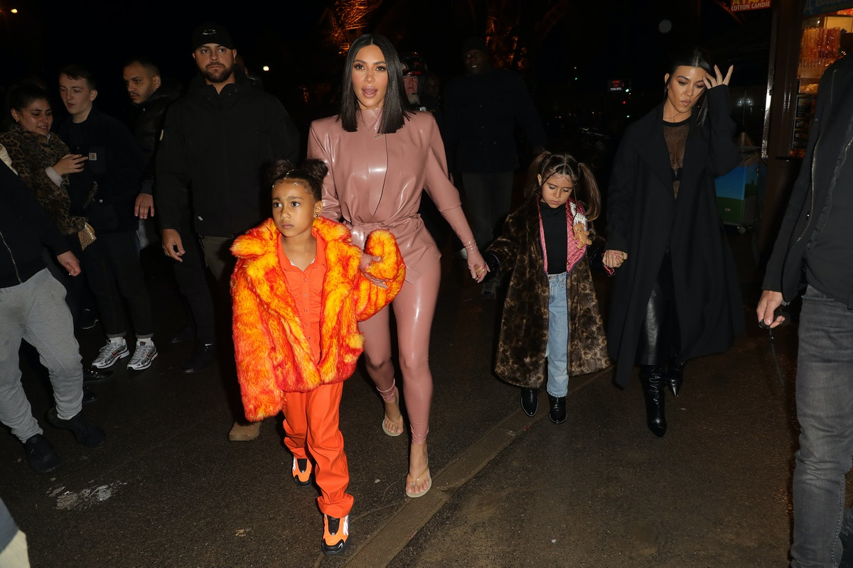 PARIS, FRANCE - MARCH 01: Kim Kardashian, North West ,Penelope Disick and Kourtney Kardashian are seen near the Eiffel Tower on March 01, 2020 in Paris, France. (Photo by Pierre Suu/GC Images)