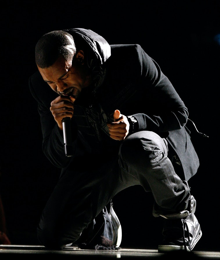 LOS ANGELES, CA - FEBRUARY 10:  Musician Kanye West performs onstage during the 50th annual Grammy a...