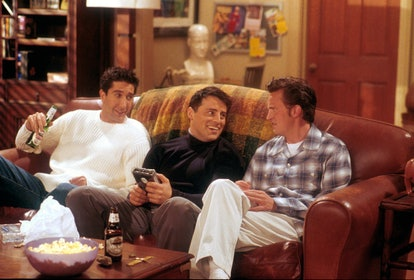 David Schwimmer, Matt LeBlanc, and Matthew Perry during Season 5 of Friends.
