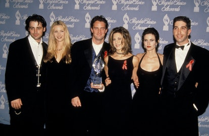 Matt LeBlanc, Lisa Kudrow, Matthew Perry, Jennifer Aniston, Courteney Cox, and David Schwimmer at the People's Choice Awards in 1995..