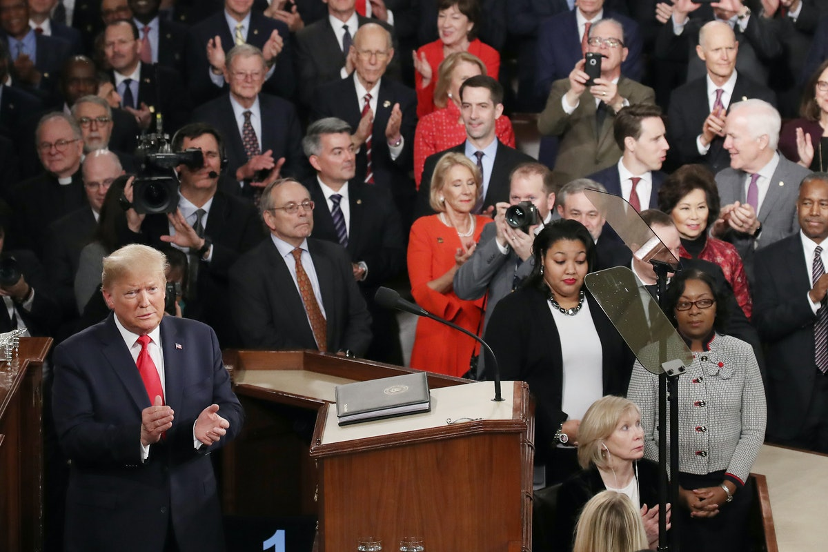 President Donald Trump steps to the lectern for the State of the Union address in the chamber of the U.S. House of Representatives on February 04, 2020 in Washington, DC. The next day, the U.S. Senate was set to vote in his impeachment trial.