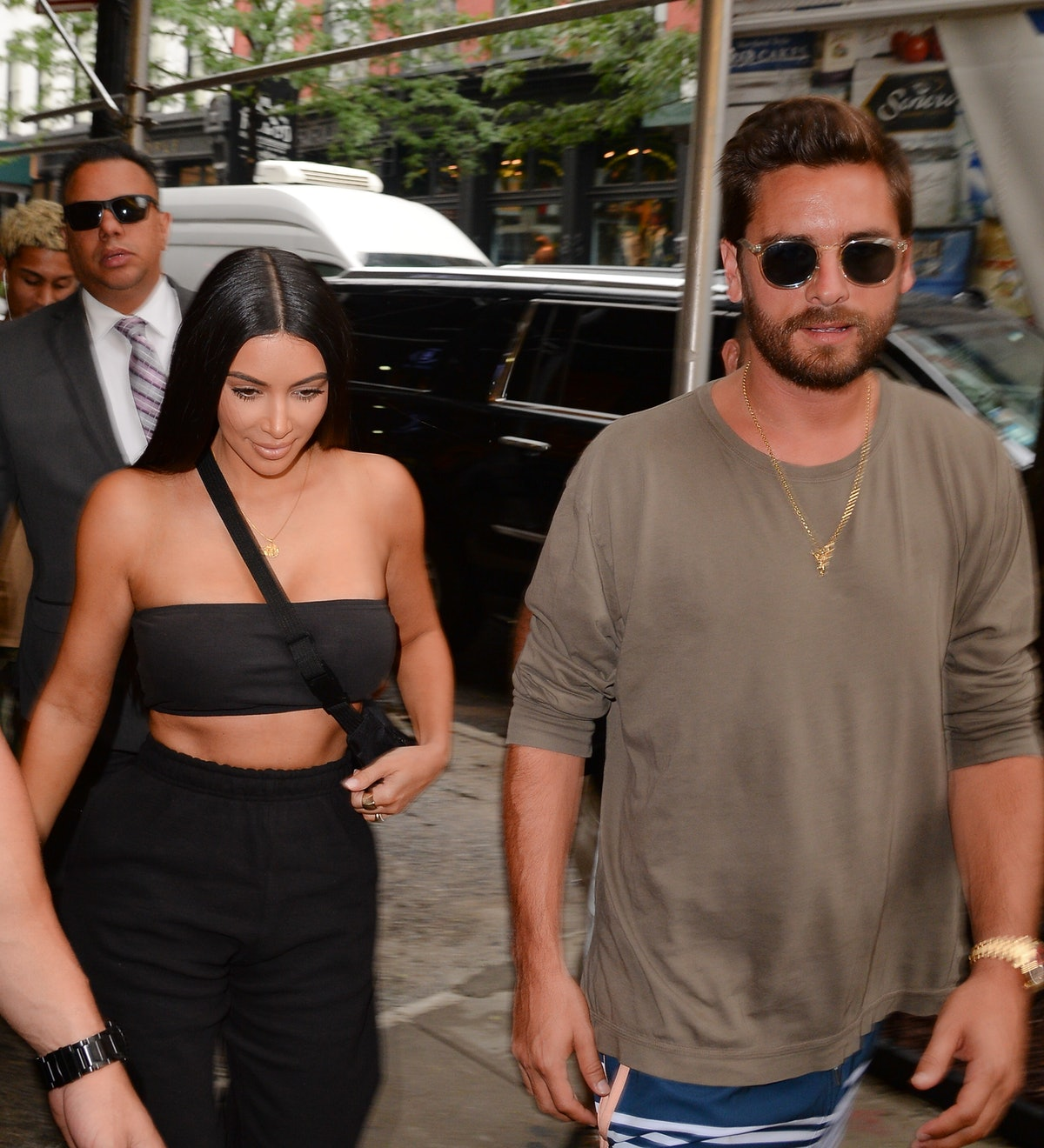 NEW YORK, NY - AUGUST 02:  Kim Kardashian and Scott Disick are seen on August 2, 2017 in New York City.  (Photo by Raymond Hall/GC Images)