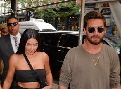 NEW YORK, NY - AUGUST 02:  Kim Kardashian and Scott Disick are seen on August 2, 2017 in New York Ci...