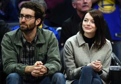 Emma Stone and Dave McCary attend the Golden State Warriors and Los Angeles Clippers basketball game...