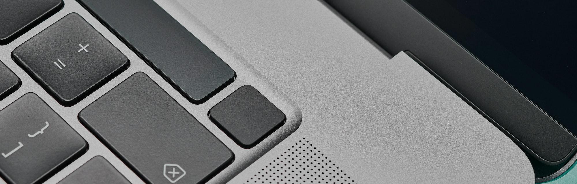 Detail of the fingerprint scanner on a 16-inch Apple MacBook Pro laptop computer, taken on October 2...
