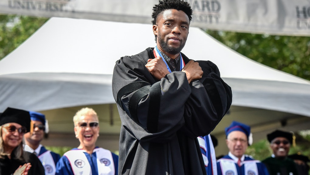 WASHINGTON, DC - MAY 12: Actor Chadwick Boseman gives a Wakanda salute to the crowd as Howard University holds its' commencement ceremonies on May, 12, 2018 in Washington, DC. (Photo by Bill O'Leary/The Washington Post via Getty Images)