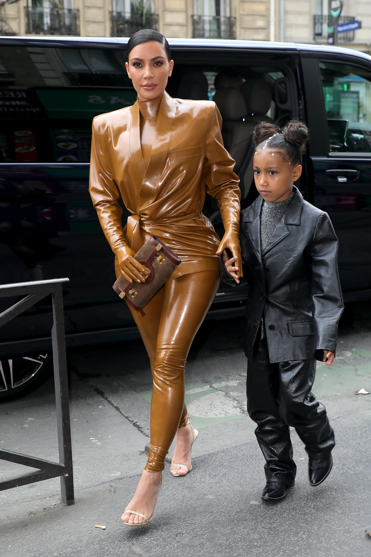 PARIS, FRANCE - MARCH 01: Kim Kardashian and her daughter North West arrive at Theatre des Bouffes du Nord to attend Kanye West's Sunday Service on March 01, 2020 in Paris, France. (Photo by Pierre Suu/GC Images)