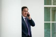 WASHINGTON, DC - JANUARY 15: MyPillow CEO Mike Lindell waits outside the West Wing of the White Hous...