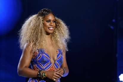 Actress activist and celebrity Gemini Laverne Cox speaks during ESSENCE Black Women in Hollywood Awards.