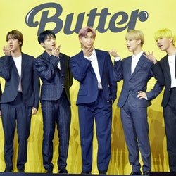SEOUL, SOUTH KOREA - MAY 21: BTS attends a press conference for BTS's new digital single 'Butter' at Olympic Hall on May 21, 2021 in Seoul, South Korea. (Photo by The Chosunilbo JNS/Imazins via Getty Images)