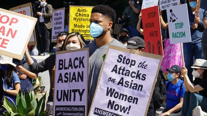 LOS ANGELES, March 27, 2021 -- People participate in a Stop Asian Hate rally and march in response t...