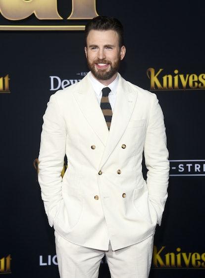 "Celebrity Gemini Chris Evans arrives at the premiere of Lionsgate's ""Knives Out""."