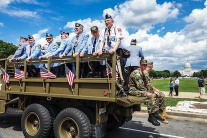 Washington DC, National Memorial Day Parade, float, Korean War Veterans, Capitol Building. (Photo by...