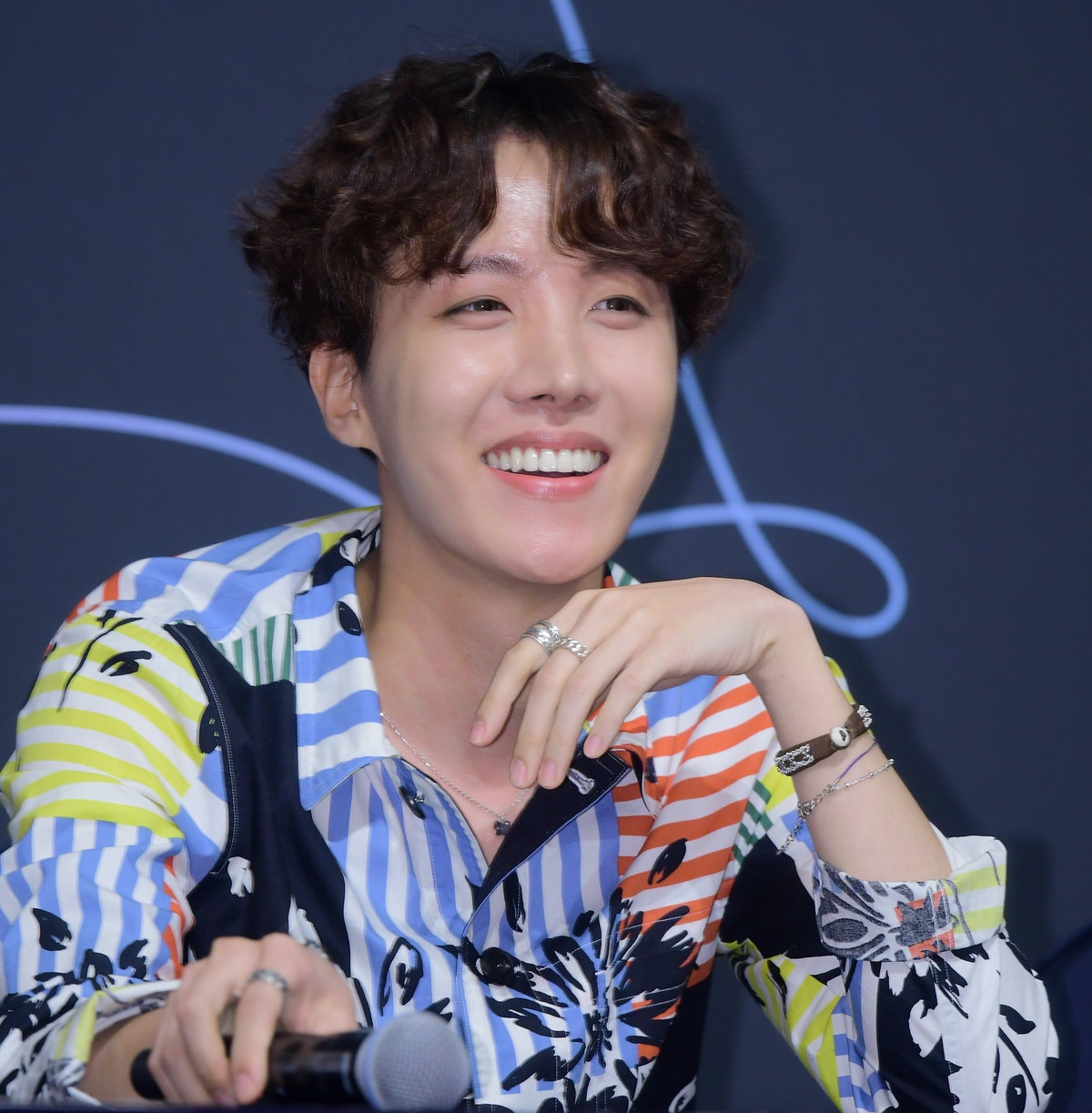 SEOUL, SOUTH KOREA - MAY 24: J-Hope of BTS attends press conference for the BTS's Third Album 'LOVE YOURSELF: Tear' Release at Lotte Hotel Seoul on May 24, 2018 in Seoul, South Korea. (Photo by The Chosunilbo JNS/Imazins via Getty Images)