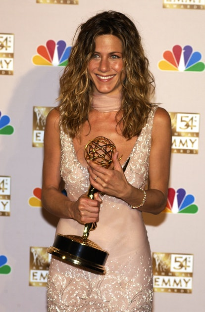 """Jennifer Aniston winner for Best Lead Actress in a Comedy Series, """"Friends"""", at the 54th Annual Emmy Awards (Photo by Jean-Paul Aussenard/WireImage)"""