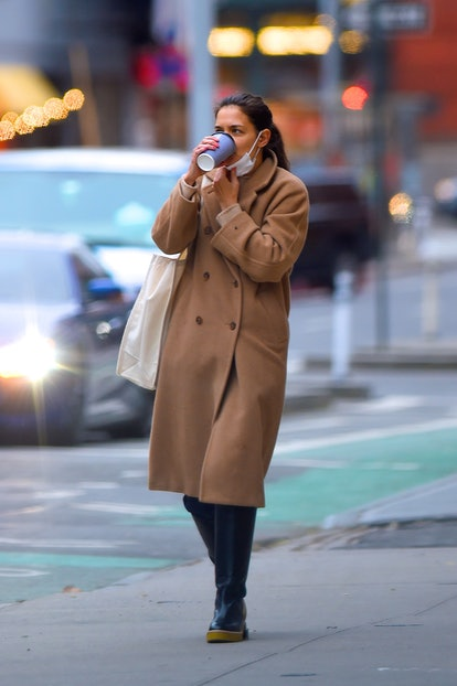 Katie Holmes wearing her FRAME boots while out and about in Manhattan on  December 16, 2020 in New Y...