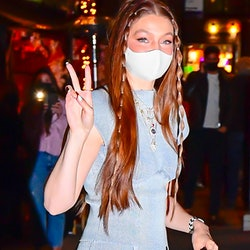 NEW YORK, NY - APRIL 23:  Gigi Hadid is seen at her birthday party in NoHo on April 23, 2021 in New ...