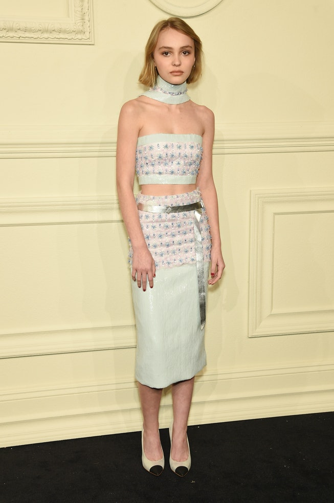 Lily-Rose Depp at the Chanel 2014/15 Metiers d'Art Collection in 2015.