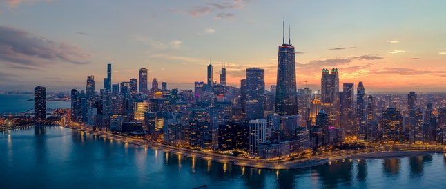 Aerial View of Chicago cityscape along Lake Shore Drive at dusk