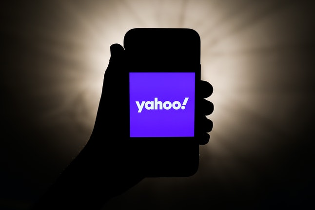 Yahoo! logo is seen displayed on a phone screen in this illustration photo taken in Krakow, Poland on May 3, 2021. (Photo illustration by Jakub Porzycki/NurPhoto via Getty Images)
