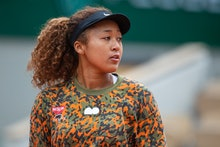 PARIS, FRANCE May 26. Naomi Osaka of Japan during practice on Court Philippe-Chatrier during a pract...