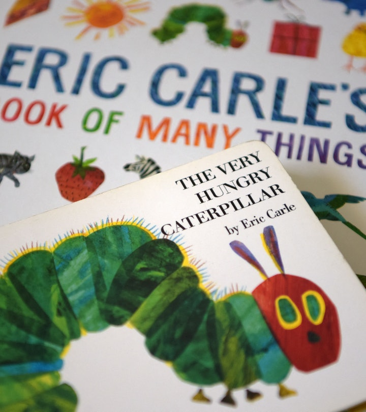 """This photo illustration taken on May 26, 2021 shows Eric Carle's """"The Very Hungry Caterpillar"""" and """"Book of Many Things"""" in Los Angeles, California. - Eric Carle, author and illustrator of the beloved children's classic """"The Very Hungry Caterpillar,"""" has died aged 91, according to a statement from his official Instagram account on May 26, 2021. - RESTRICTED TO EDITORIAL USE - MANDATORY MENTION OF THE ARTIST UPON PUBLICATION - TO ILLUSTRATE THE EVENT AS SPECIFIED IN THE CAPTION (Photo by - / AFP) / RESTRICTED TO EDITORIAL USE - MANDATORY MENTION OF THE ARTIST UPON PUBLICATION - TO ILLUSTRATE THE EVENT AS SPECIFIED IN THE CAPTION / RESTRICTED TO EDITORIAL USE - MANDATORY MENTION OF THE ARTIST UPON PUBLICATION - TO ILLUSTRATE THE EVENT AS SPECIFIED IN THE CAPTION (Photo by -/AFP via Getty Images)"""