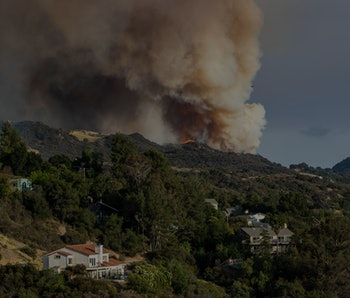 LOS ANGELES, CA - MAY 15, 2021: The Palisades wildfire burns out of control in rugged terrain near homes above Topanga Canyon Boulevard on May 15, 2021 in Los Angeles, California.(Gina Ferazzi / Los Angeles Times via Getty Images)