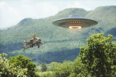 UFO and helicopter flying above the trees, illustration.