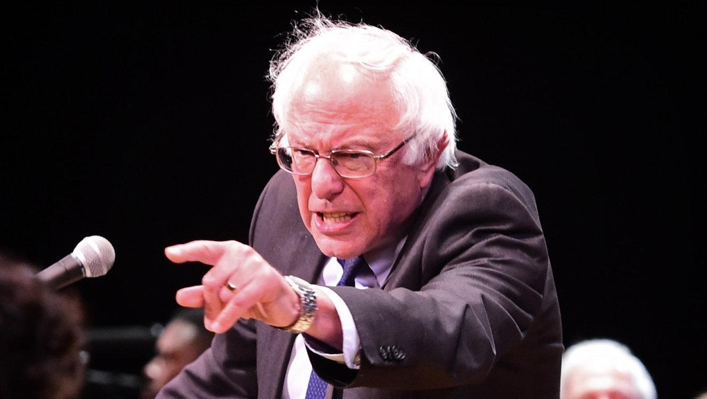 New York, N.Y.: Democratic presidential candidate Bernie Sanders, senator from Vermont, speaks to supporters at The Town Hall theatre in Manhattan, New York on the evening of June 23, 2016. (Photo by Thomas A. Ferrara/Newsday RM via Getty Images)