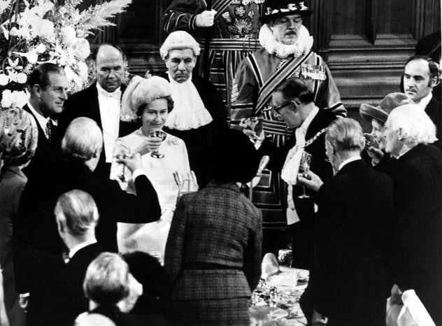 Anniversary toasts with Queen Elizabeth and Prince Philip.