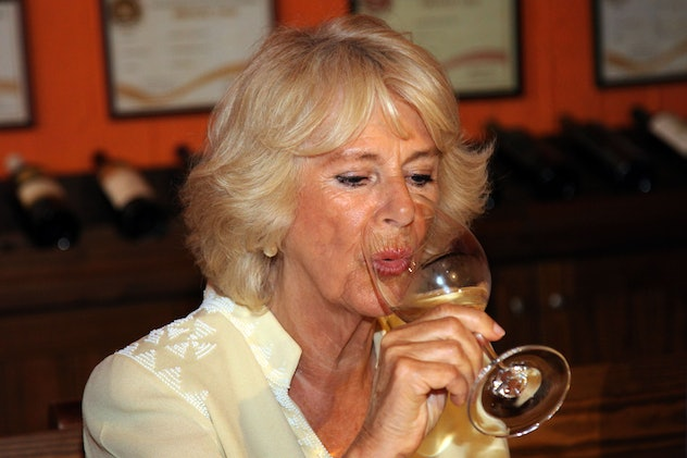 Camilla Parker Bowles enjoys a glass of wine.