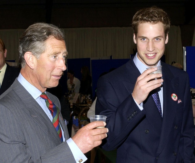Prince William drinks beer with his dad.
