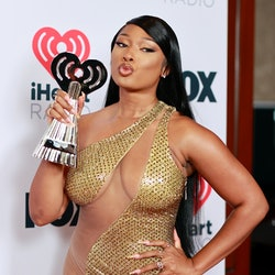 LOS ANGELES, CALIFORNIA - MAY 27: (EDITORIAL USE ONLY) Megan Thee Stallion, winner of the Best Collaboration award for 'Savage' (Remix), attends the 2021 iHeartRadio Music Awards at The Dolby Theatre in Los Angeles, California, which was broadcast live on FOX on May 27, 2021. (Photo by Emma McIntyre/Getty Images for iHeartMedia)