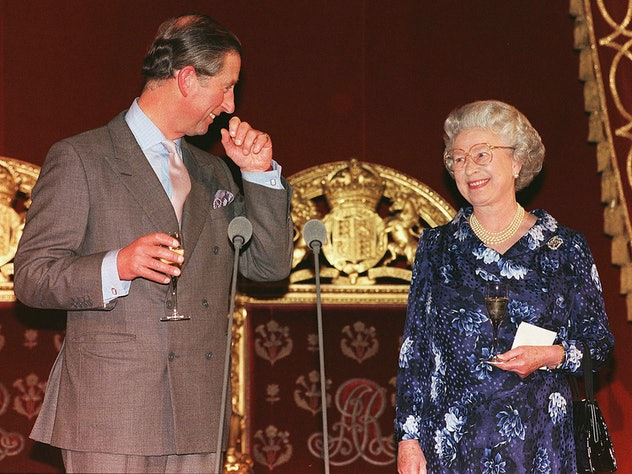 Prince Charles drinks champagne with his mom.