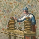 Coloured engraving, from an illustrated Hebrew Bible, depicting the table for showbread inside the T...