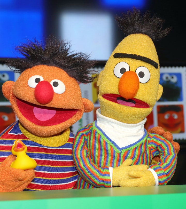 HAMBURG, GERMANY - MARCH 02: Sesame Street characters Bert and Ernie during the presentation of the ...