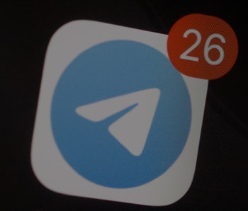 The Telegram encrypted messaging application icon is seen on an iPhone home screen in Warsaw, Poland...