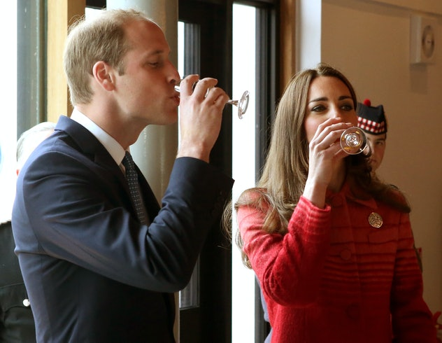 Prince William and Kate Middleton drink whiskey.