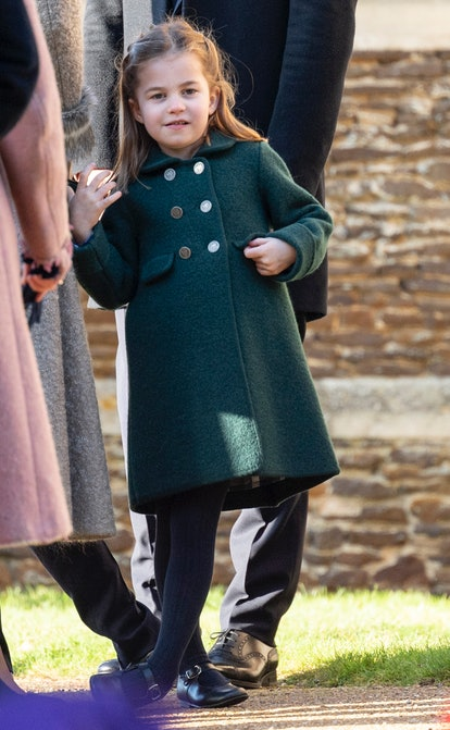 KING'S LYNN, ENGLAND - DECEMBER 25: Princess Charlotte of Cambridge attends the Christmas Day Church...
