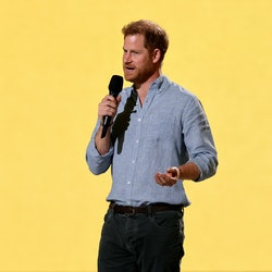 INGLEWOOD, CALIFORNIA: In this image released on May 2, Prince Harry, Duke of Sussex speaks onstage during Global Citizen VAX LIVE: The Concert To Reunite The World at SoFi Stadium in Inglewood, California. Global Citizen VAX LIVE: The Concert To Reunite The World will be broadcast on May 8, 2021. (Photo by Kevin Winter/Getty Images for Global Citizen VAX LIVE)