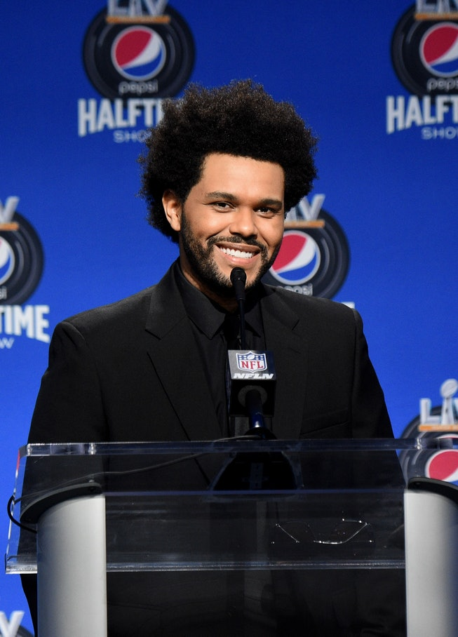 TAMPA, FLORIDA - FEBRUARY 04: The Weeknd speaks during the Pepsi Super Bowl LV Halftime Show Press Conference at Tampa Convention Center on February 04, 2021 in Tampa, Florida. (Photo by Kevin Mazur/Getty Images for TW)