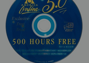 """""""Miami, USA - June 24, 2012: America Online version 5.0 500 Hours Free Trial Internet Service Compact Disc. America Online is today AOL, Inc."""""""