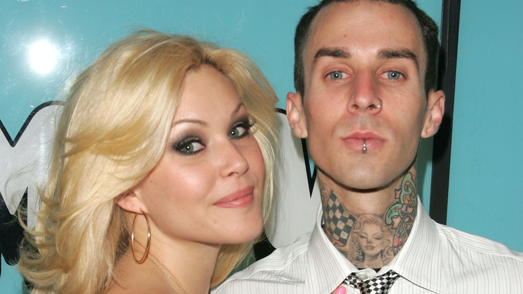 "NEW YORK - APRIL 6:  (U.S. TABLOIDS OUT)  From ""Meet The Barkers"" Shanna Moakler and Travis Barker make an appearance on MTV's Total Request Live on April 6, 2005 in New York City.  (Photo by Peter Kramer/Getty Images)"