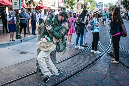 ANAHEIM CA APRIL 30, 2021 - A couple recreate the famous Alfred Eisenstaedt V-J Day photo inside Dis...