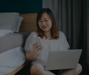 asian chinese body positive woman enjoying her weekend at home